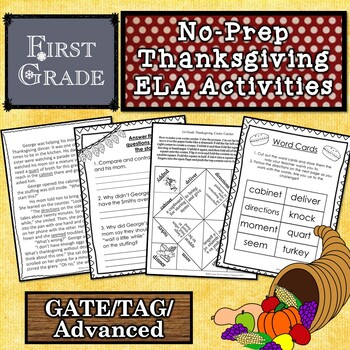 First Grade Thanksgiving Story and Activities for Gifted / TAG / GATE