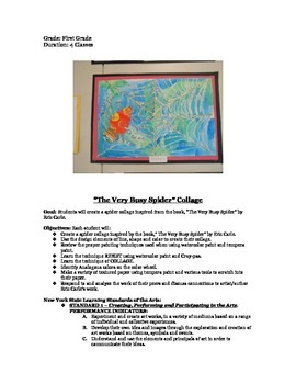 """First Grade """"The Very Busy Spider"""" Collage inspired by Eric Carle"""