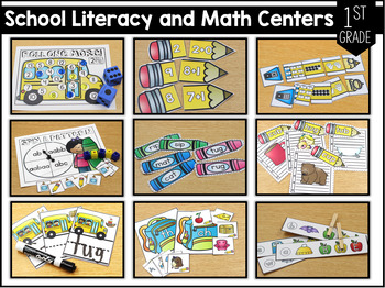 First Grade Themed Literacy and Math Centers for the Year Set 1!