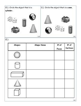 Math Assessment Shapes, Add/Subtract, Graphs