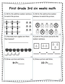 Math Assessment Shapes, Add/Subtract, Graphs