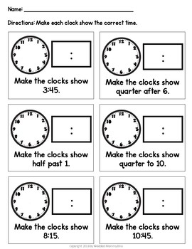 Telling Time - First Grade Math Practice