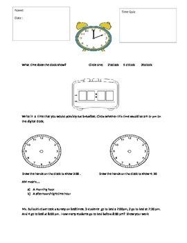 First Grade Time Quiz