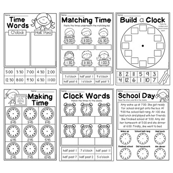 First Grade Time Worksheets - Hour and Half Hour