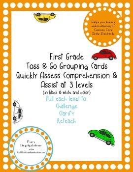 First Grade  Toss & Go Grouping Cards Quickly Assess Comprehension & Assist
