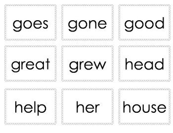 First Grade Treasures High Frequency Word Cards