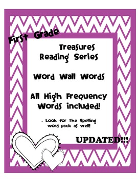 First Grade Treasures High Frequency Word wall cards