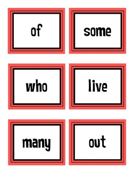 First Grade Treasures High Frequency Words Flash Cards Unit 2