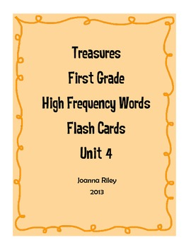 First Grade Treasures High Frequency Words Flash Cards Unit 4