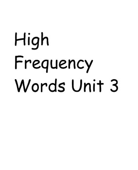 First Grade Treasures Reading Program High Frequency Words