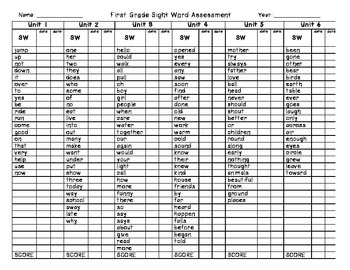 First Grade Treasures Sight Word Checklist