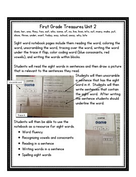 First Grade Treasures Sight Word Notebook
