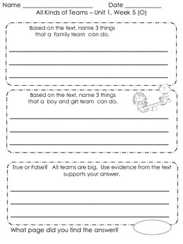 First Grade Treasures- Unit 1- Guided Readers Response Sheets