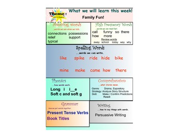 First Grade Treasures Weekly Focus Chart Unit 3
