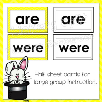 First Grade Tricky Words in Yellow and Black Line