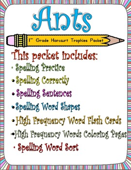 Ants: First Grade Spelling and Sight Words Packet