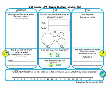 First Grade UPS-Check Problem Solving Mat (TEKS 1.3E, CCSS 1.OA.1)