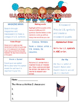 First Grade U.S. Symbols Choice Board Activities