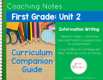 First Grade Unit 2 Information Writing Curriculum Companion Guide