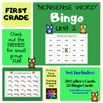 "First Grade Unit 2 ""Nonsense Word"" Bingo (Journeys)"
