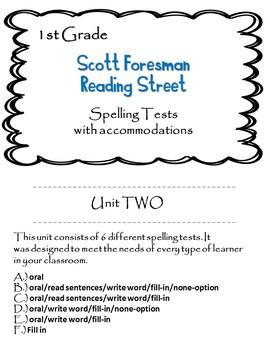 Scott Foresman Reading Street 1st Grade U-2 Spelling Test w/ accommodations