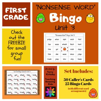 "First Grade Unit 3 ""Nonsense Word"" Bingo (Journeys)"