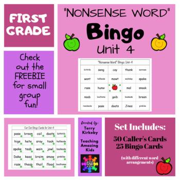 "First Grade Unit 4 ""Nonsense Word"" Bingo (Journeys)"