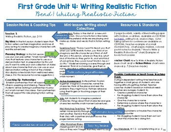 First Grade Unit 4 Realistic Fiction Writing Curriculum Companion Guide