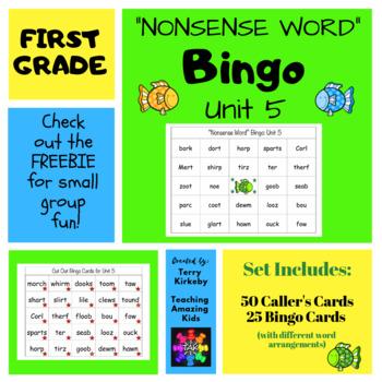 "First Grade Unit 5 ""Nonsense Word"" Bingo (Journeys)"