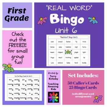 "First Grade Unit 6 ""Real Word"" Bingo (Journeys)"
