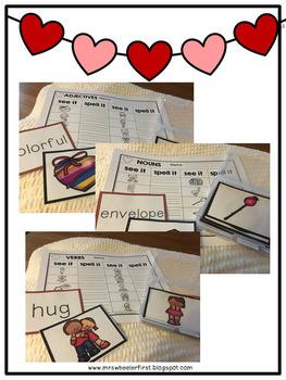 First Grade Language: Valentine's Day Parts of Speech Sort