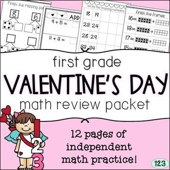 First Grade Valentine's Day Math Packet