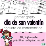 First Grade Valentine's Day Math Packet - SPANISH