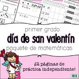 First Grade Valentine's Day Math Packet - SPANISH