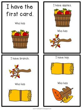 First Grade Vocabulary:  I Have, Who Has: Fall