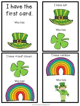 First Grade Vocabulary:  I Have, Who Has: St. Patrick's Day
