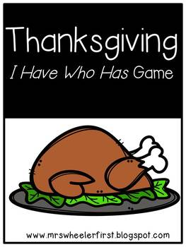First Grade Vocabulary:  I Have, Who Has: Thanksgiving