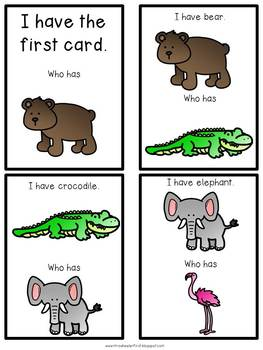 First Grade Vocabulary:  I Have, Who Has: Zoo