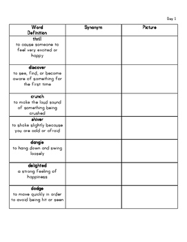 First Grade Vocabulary Practice and Assessment  Set 2