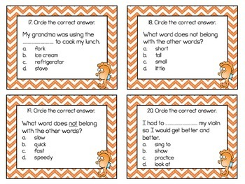 First Grade Vocabulary Task Cards