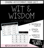 First Grade WIT AND WISDOM Mini Writing Rubrics for Grading