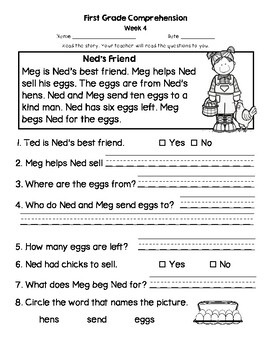 First Grade Weekly Comprehension Practice