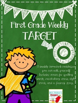 First Grade Weekly Editable Homework Newsletter