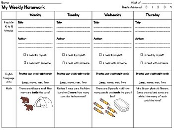 First Grade Weekly Homework Sheets