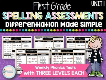 First Grade Weekly Phonics Assessments UNIT 1