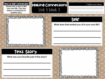 First Grade Weekly Reading Graphic Organizers (Unit 1, Week 2)