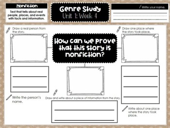 First Grade Weekly Reading Graphic Organizers (Unit 1, Week 4)