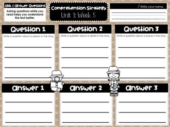 First Grade Weekly Reading Graphic Organizers (Unit 1, Week 5)