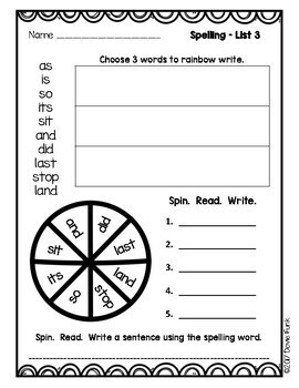 First Grade Word Work Weekly Worksheets - Great with Saxon Spelling 1
