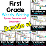 First Grade Weekly Writing Bundle #1 (opinion, narrative,